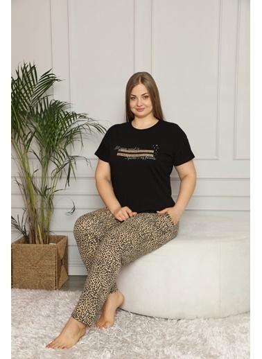 Pemilo Kadın 30105-5 Büyük Beden Leopar Desenli Kısa Kol Pijama Takımı SİYAH Siyah